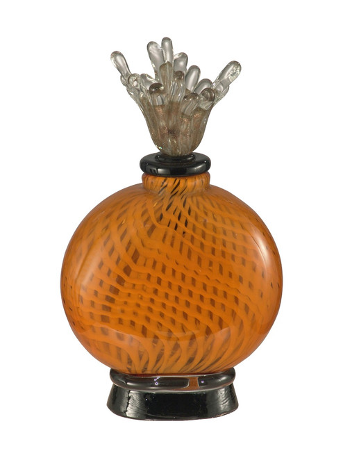 """12.25"""" Orange and Black Pumpkin Pie Hand Blown Perfume Bottle with Stopper - IMAGE 1"""
