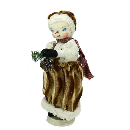 """15"""" Gathered Traditions """"Fannie"""" Snow Girl Decorative Christmas Figure with Stand - IMAGE 1"""
