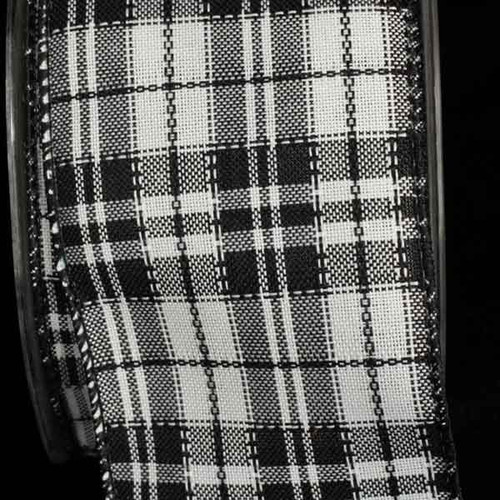 """Black and White Plaid Wired Craft Ribbon 2.5"""" x 40 Yards - IMAGE 1"""