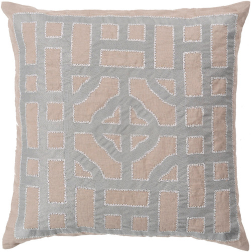 "18"" Gray and Brown Throw Pillow - Down Filler - IMAGE 1"