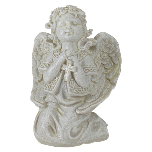 """6.75"""" Ivory Praying Angel Holding a Cross Outdoor Patio Garden Statue - IMAGE 1"""