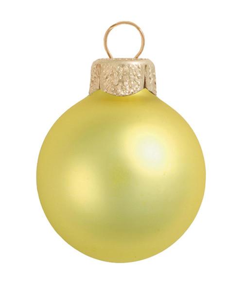 "28ct Soft Yellow Matte Glass Christmas Ball Ornaments 2"" (50mm) - IMAGE 1"