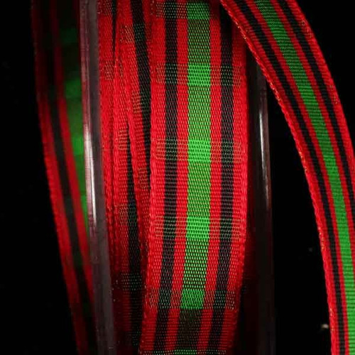 """Red and Black Woven Narrow Plaid Wired Craft Ribbon 0.5"""" x 44 Yards - IMAGE 1"""