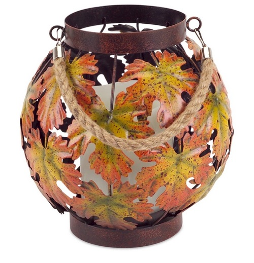"15"" Brown and Orange Autumn Harvest Maple Leaf Pillar Candle Lantern - IMAGE 1"