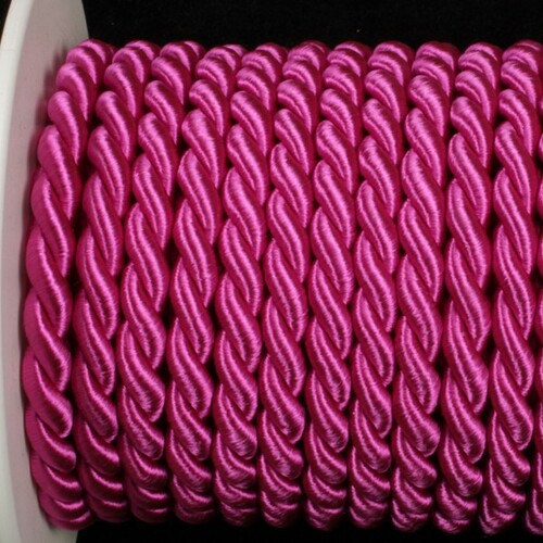 "Fuchsia Pink Braided Cording Wired Craft Ribbon 0.25"" x 17 Yards - IMAGE 1"