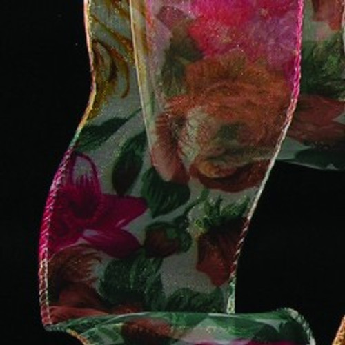 "Vibrantly Colored Sheer Woodland Floral Wire Edged Craft Ribbon 2"" x 80 Yards - IMAGE 1"