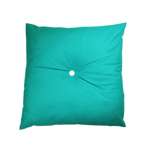"""30"""" Turquoise Blue and White Solid Tufted Floor Square Throw Pillow - IMAGE 1"""