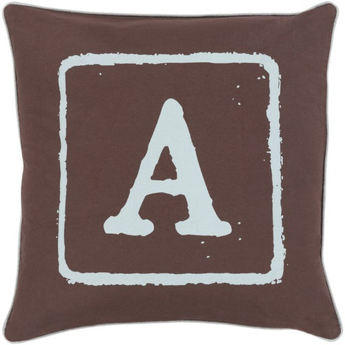 """20"""" Espresso Brown and Gray """"A"""" Square Throw Pillow - IMAGE 1"""
