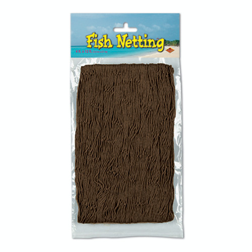 Club Pack of 12 Brown Under the Sea Fish Netting Hanging Party Decors 12' - IMAGE 1