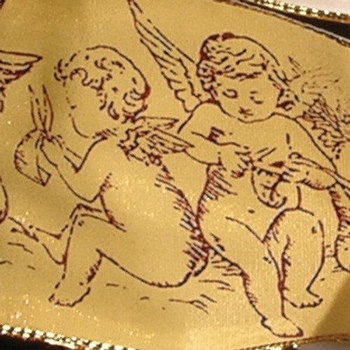"Gold and Purple Taffeta Cherubs Gold Wired Craft Ribbon 1.5"" x 27 Yards - IMAGE 1"