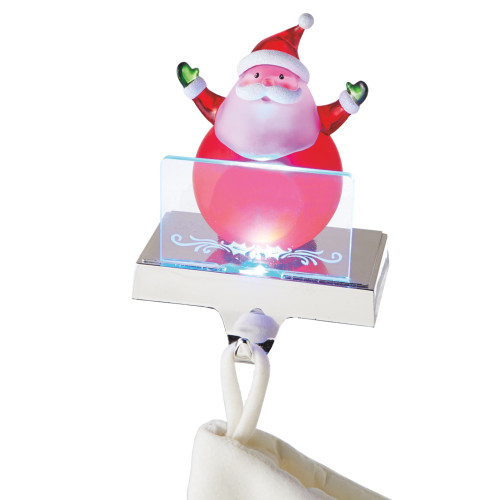 """6.75"""" Red and White LED Lighted Color Changing Frosted Santa Claus Christmas Stocking Holder Foralization - IMAGE 1"""