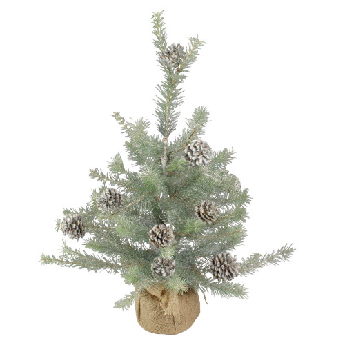 2' Potted Vintage Glittered Pine Full Artificial Christmas Tree - Unlit - IMAGE 1