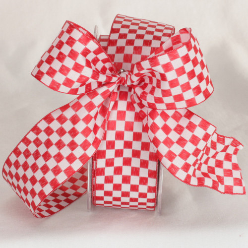 """Red and White Checkered Wired Craft Ribbon 1.5"""" x 54 Yards - IMAGE 1"""