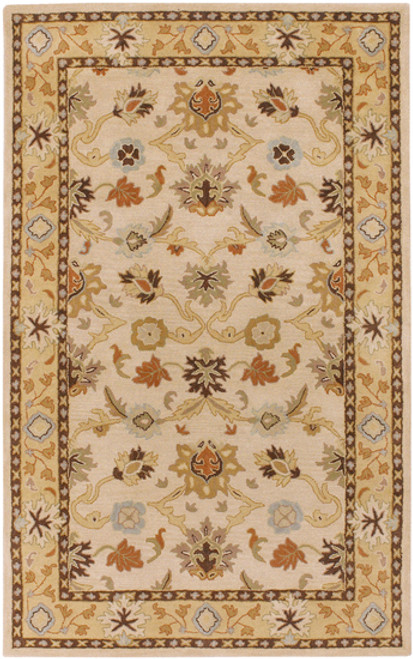 6' x 9' Beige and Sage Green Floral Hand Tufted Rectangular Area Throw Rug - IMAGE 1