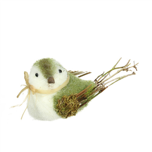 """8.25"""" Green, White and Brown Decorative Spring Bird Table Top Figure - IMAGE 1"""