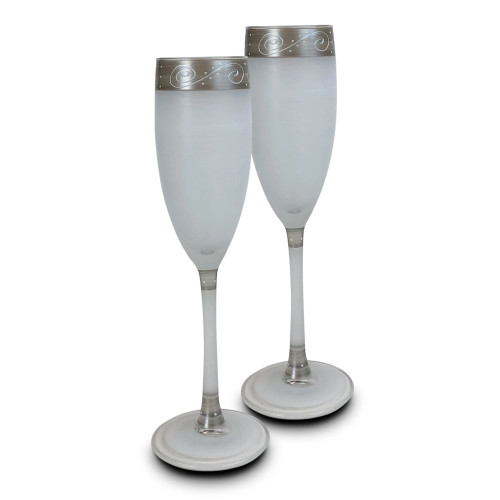 "Set of 2 Silver Swirls and Dots Hand Painted Champagne Drinking Glasses Glasses 8.75"" - IMAGE 1"