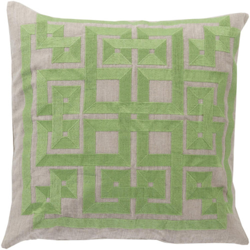 """22"""" Celery Green and Abalone Gray Square Throw Pillow - Down Filler - IMAGE 1"""