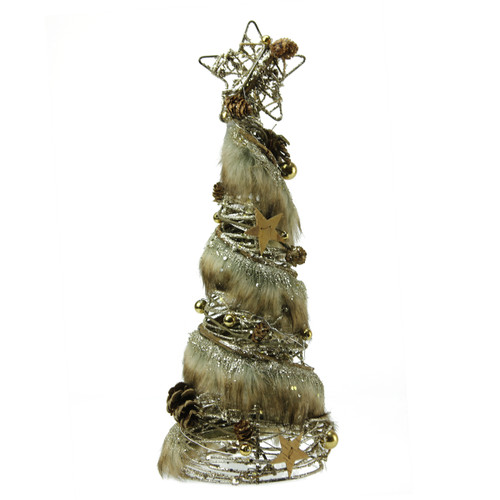 """15"""" Brown Rustic Style Glittered Christmas Tree Tabletop Decor - IMAGE 1"""