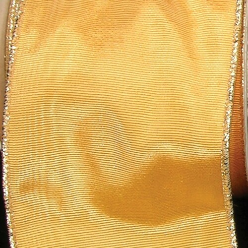"Gold Symphony Edge Wired Craft Ribbon 3"" x 22 Yards - IMAGE 1"