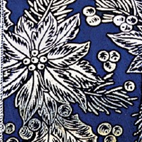 """Blue and Silver Poinsettia Wired Craft Ribbon 4"""" x 20 Yards - IMAGE 1"""