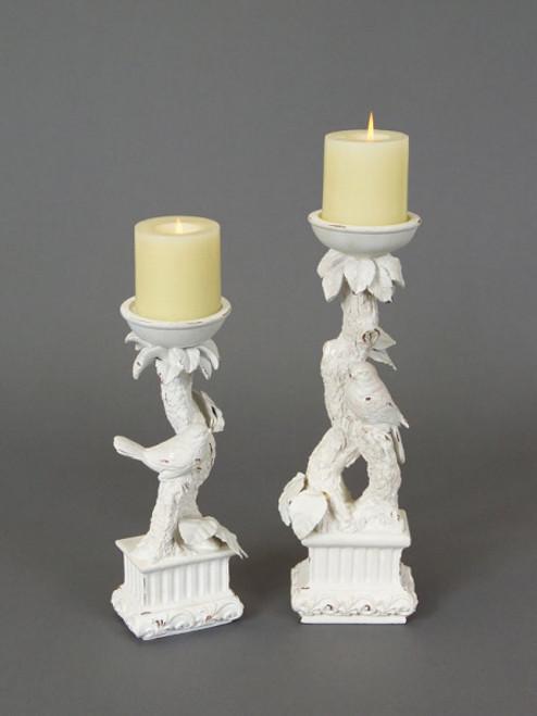 "Set of 2 Snow Drift Distressed White Bird Pedestal Pillar Candle Holders 15"" - IMAGE 1"