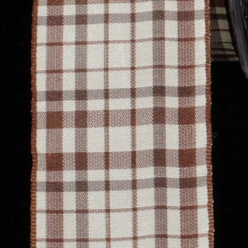 "White and Brown Taffeta Wired Craft Ribbon 1.5"" x 27 Yards - IMAGE 1"