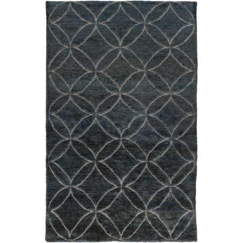 2' x 3' Blue and Gray Hand-Knotted Area Throw Rug - IMAGE 1
