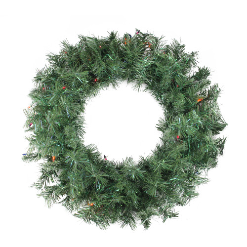 "24"" Pre-lit Minetoba Pine Artificial Christmas Wreath - Multi Lights - IMAGE 1"