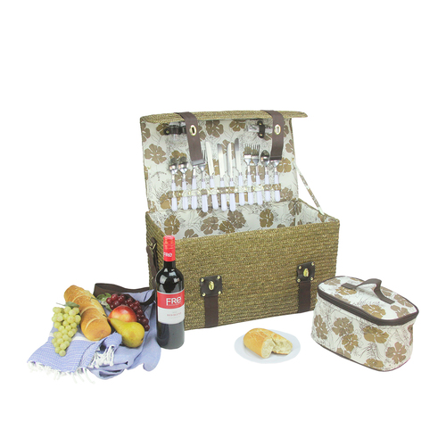 "20.5"" Gold Handwoven 4-Person Picnic Basket Set with Accessories - IMAGE 1"