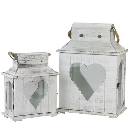 Set of 2 Decorative White Washed Wooden Candle Holder Lanterns with Heart Shaped Cut-Outs - IMAGE 1