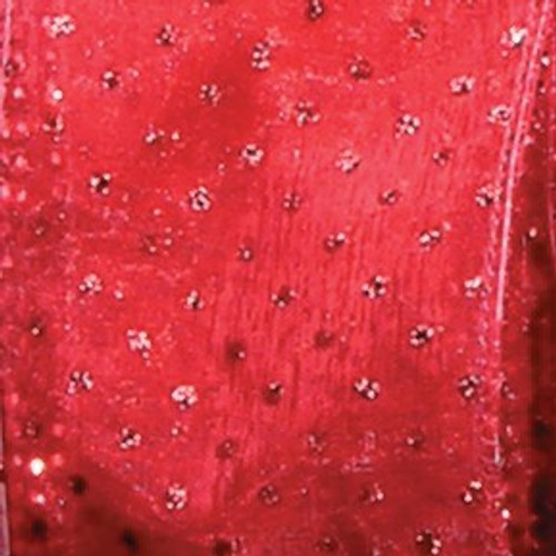 """Shimmering Red Semi Sheer Brooklyn Wired Craft Ribbon 6"""" x 20 Yards - IMAGE 1"""