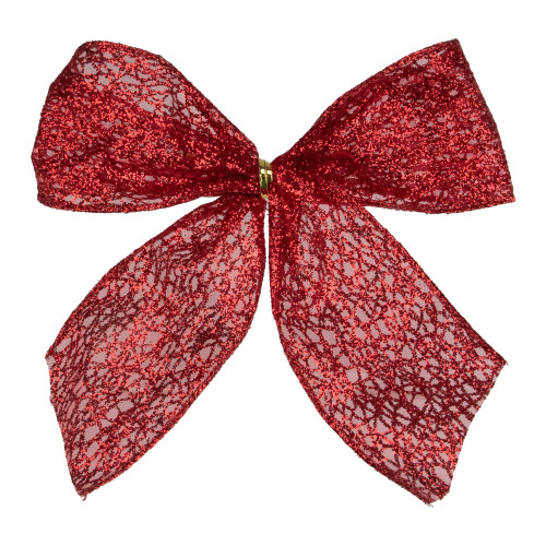 """Pack of 6 Sheer Red Glittery Christmas Bow Decorations 5"""" - IMAGE 1"""