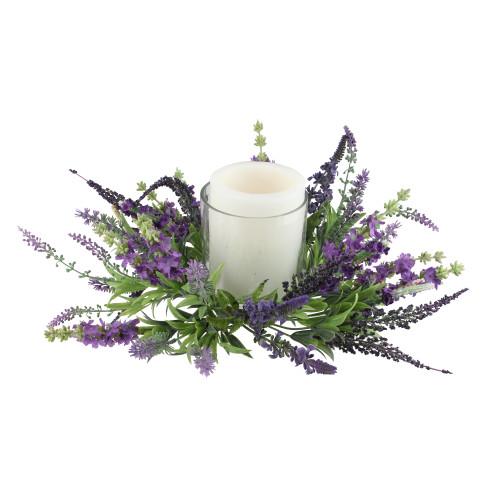 "15"" Decorative Artificial Purple Lavender Hurricane Glass Candle Holder - IMAGE 1"