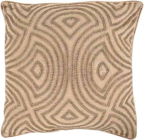 """18"""" Coffee Brown Contemporary Square Throw Pillow - Down Filler - IMAGE 1"""