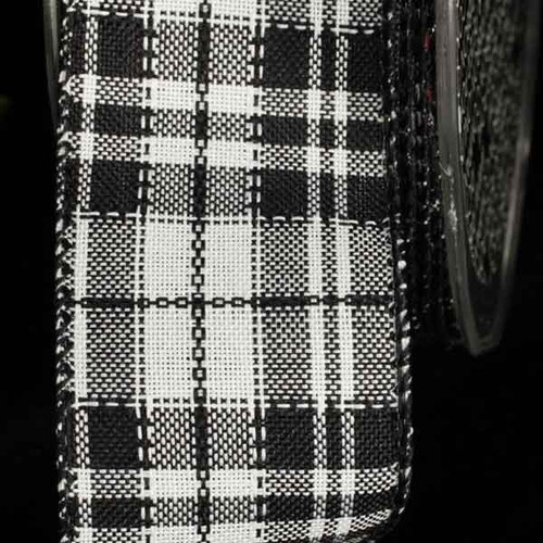 """Black and White Plaid Wired Craft Ribbon 1.5"""" x 40 Yards - IMAGE 1"""