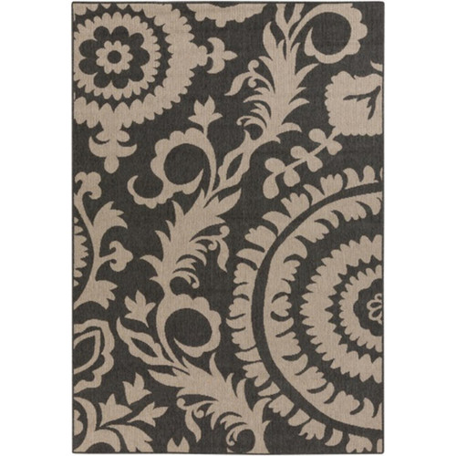 7.5' x 10.75' Flowery Maze Pale Black and Taupe Shed-Free Area Throw Rug - IMAGE 1
