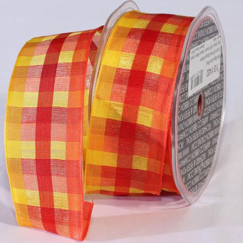 "Orange and Yellow Plaid Wired Craft Ribbon 1.5"" x 50 Yards - IMAGE 1"