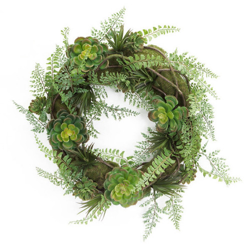 Hen and Chicks Artificial Succulent Plant Wreath, Green 22-Inch - IMAGE 1
