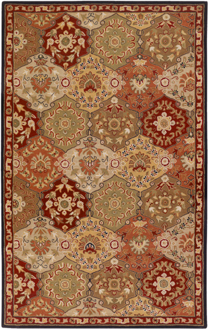 5' x 8' Clover Brown and Olive Green Rectangular Wool Area Throw Rug - IMAGE 1