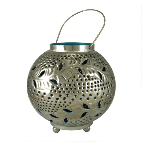 """8"""" Tropicalia Silver and Blue Cut-Out Floral Votive Candle Holder - IMAGE 1"""