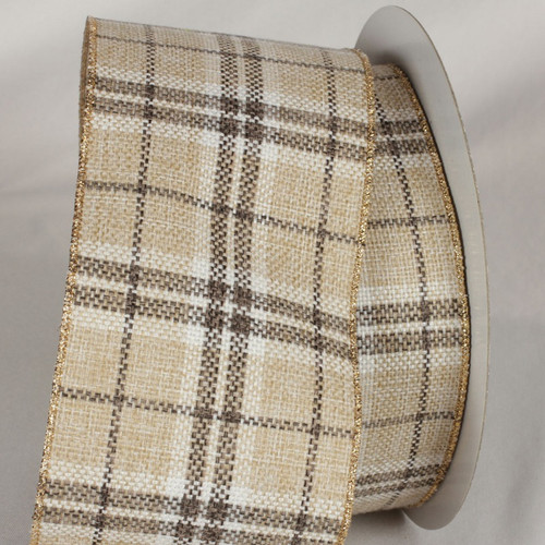 "Beige and Brown Plaid Wired Craft Ribbon 4"" x 20 Yards - IMAGE 1"