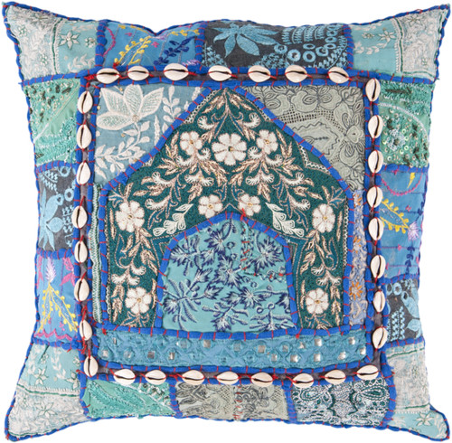 """18"""" Blue and Green Floral Square Throw Pillow - Down Filler - IMAGE 1"""