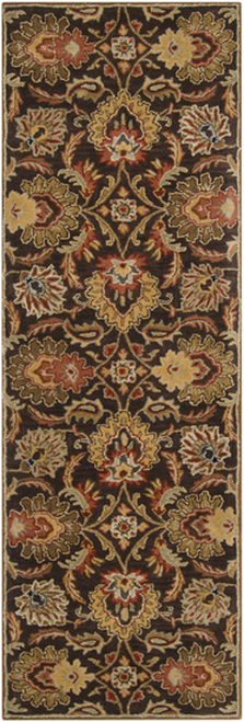 3' x 12' Brown and Ivory Contemporary Hand Tufted Floral Rectangular Wool Area Throw Rug Runner - IMAGE 1