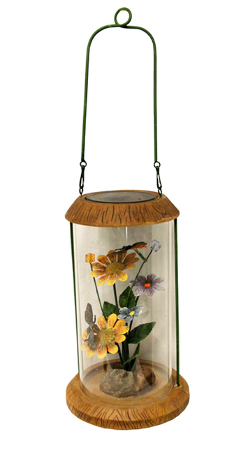 "10.5"" LED Lighted Solar Powered Outdoor Garden Lantern with Flowers - IMAGE 1"