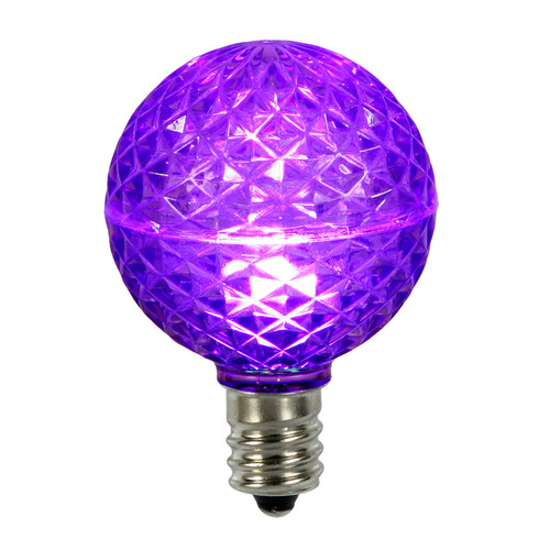Club Pack of 25 LED G50 Purple Replacement Christmas Light Bulbs - E17 Base - IMAGE 1