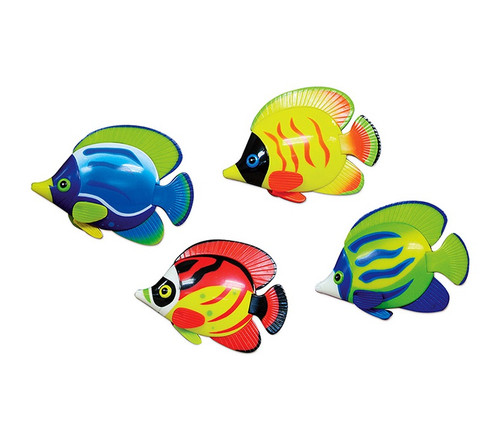 """4 Piece Vibrantly Colored Jumbo Dive'N'Catch Fish Shaped Swimming Pool Game 4"""" - IMAGE 1"""