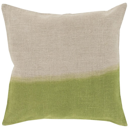 """22"""" Lime Green and Gray Contemporary Square Throw Pillow - Down Filler - IMAGE 1"""
