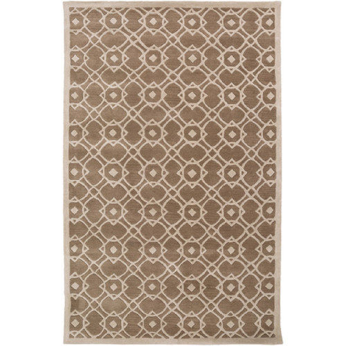 9' x 13' Entangled Symmetry Taupe Brown and Gray Hand Tufted New Zealand Wool Area Throw Rug - IMAGE 1