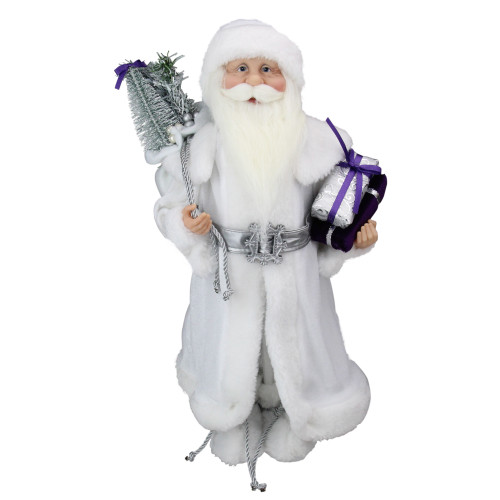 "18.25"" White and Gray Santa Claus with Presents Christmas Decoration - IMAGE 1"