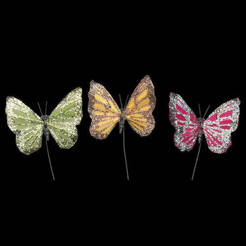 """Club Pack of 144 Green and Pink Night Glitter Butterfly Wired Craft Picks 2"""" - IMAGE 1"""